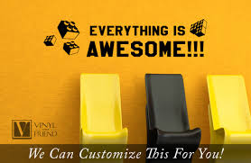 everything is awesome wall decor vinyl lettering decal style 2 for