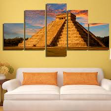 online get cheap mexican painting aliexpress com alibaba group 5 panels mexican pyramid printed print home decoration hd painting on canvas wall art paint living