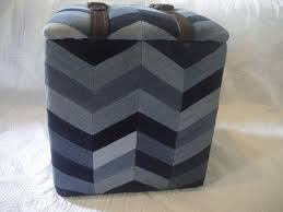 Etsy Ottoman Recycled Denim Chevron And Belts Ottoman Ecoolectic On Etsy Denim