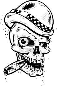 clown skull with bow tattoo design