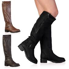 womens boots size 3 1i womens faux leather knee high winter flat