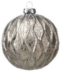 set of 6 silver gray ornaments small