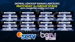 Jadwal Liga Chion Matchday 2 Jadwal Lengkap Siaran Langsung Liga Chions Eropa