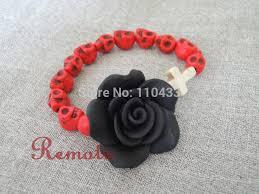 black rose bracelet images Online shop red sugar skull with clay fimo big black rose cross jpg