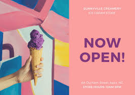 pink and purple ice cream direct mail postcard templates by canva