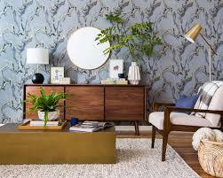 Livingroom Wallpaper A Neutral Mid Century Living Room Vignette Emily Henderson