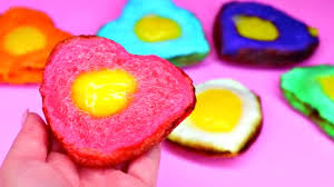 how to make heart shaped rainbow fried eggs diy colorful fried