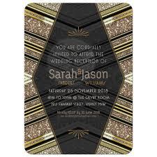 art deco wedding invitation u2022 black gold glitter v2