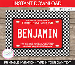 theme invitations race car party invitations template birthday party
