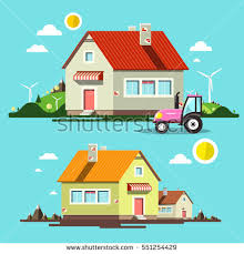 flat design flat design house houses tractor on stock vector 551254429