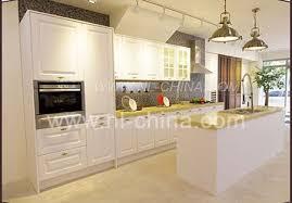 simple style white pvc membrane door panel kitchen cabinet set