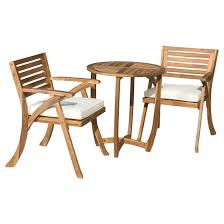 Coronado Patio Furniture by Coronado 3pc Acacia Wood Patio Bistro Set With Cushions Teak
