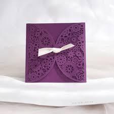 Wedding Invitations Purple Purple Laser Cut Ivory Ribbon Wedding Invitations Iwsm042
