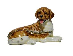 golden retriever dog animal jewelry box decorative trinket box