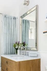antiqued gray french bath vanity with venetian beaded mirror