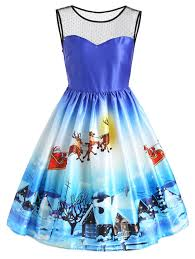 christmas cocktails vintage christmas sleeveless snow view print vintage dress in blue l
