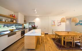 prefab kitchen island capturing the view while allowing plenty of living space in this