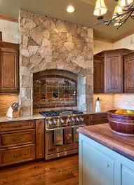 rock kitchen backsplash rock kitchen with granite countertop kitchen rustic and wall ovens