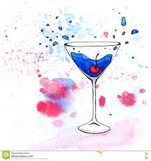 martini illustration watercolor illustration of blue cocktail in martini glass stock