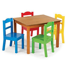 tot tutors table and chair set bright and colorful perfect for a playroom tot tutors dark pine