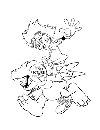 manga digimon coloring page for kids cartoon coloring pages