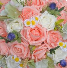 Peach Roses Brides Ivory U0026 Peach Rose Wedding Bouquet With Thistles And