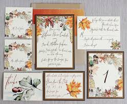 autumn wedding invitations autumn foliage watercolor wedding invitation antique gold fall