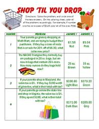 percent discount taxes and tips coloring worksheet sales tax