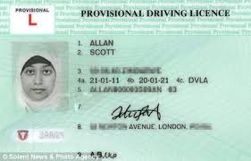 white man issued provisional driving licence featuring hijab clad