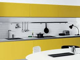 elegant and also interesting yellow kitchen design pertaining to