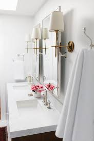 Bathroom Sconces Polished Nickel Nickel Bathroom Mirrors With Antique Brass Sconces Transitional