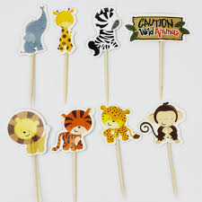 safari cake toppers 24pcs jungle safari cupcake picks animal cake toppers