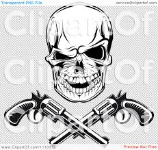 clipart black and white gangster skull with crossed pistols