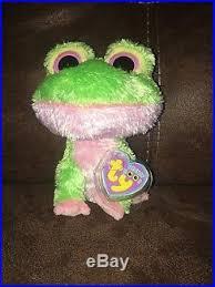 ty beanie boo boos plush 6 kiwi green frog rare purple tag 2009