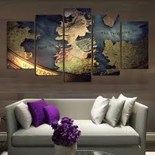 Lotr Home Decor Game Of Thrones Map Canvas Print Wall Art Home Decor Map Canvas