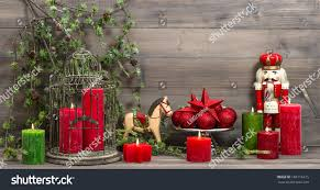 vintage christmas decorations red candles antique stock photo