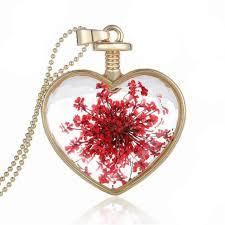 bottle necklace aliexpress images 2017 new arrival women dry flower heart glass wishing bottle jpg