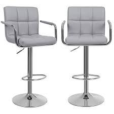chaise de bar lot de 2 tabourets de bar gris haut chaise de bar pu chrome hauteur