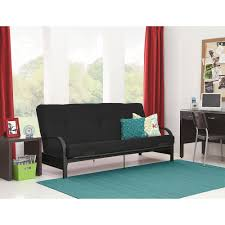 mainstays black metal arm futon with full size mattress walmart com