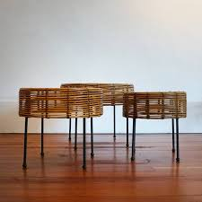 john risley wicker and iron nesting tables at 1stdibs