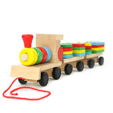 wooden toy three small trains toys geometric shape bricks blocks
