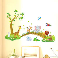 wall ideas 53 baby wall art baby room wall decor baby room wall kids babies boys girls room wall decor poster cartoon animals lined up to walk across the bridge wall decals forest animals home wall stickers horse wall