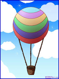 drawn air balloon drawing pencil and in color drawn air
