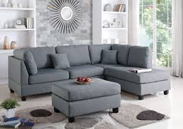 Corner Sectional Sofa Poundex F7606 3 Pcs Grey Fabric Reversible Chaise Sectional Sofa
