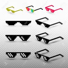 Meme Background Template - set of pixel glasses isolated on transparent background thug