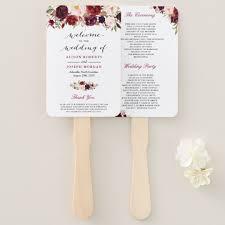 classic wedding programs rustic burgundy floral classic wedding program fan