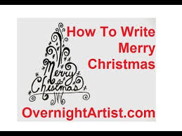 how to draw a tree write merry