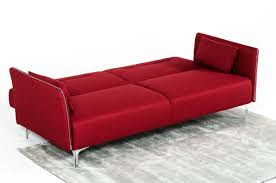 Sofa Bed Chaise Lounge by Davenport Mid Century Red Fabric Single Sofa Bed