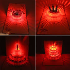 4 style birthday card with music 3d laser led light cut pop up