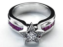 rings star images Diamond star pink bridge engagement ring in 14k white gold wed jpg